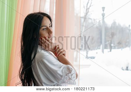 Beautiful Girl Near The Window In The Morning