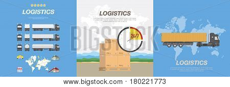 Trucks for the transport of goods and boxes on a pallet. Set flat vector illustrations on the theme of logistics and transport.
