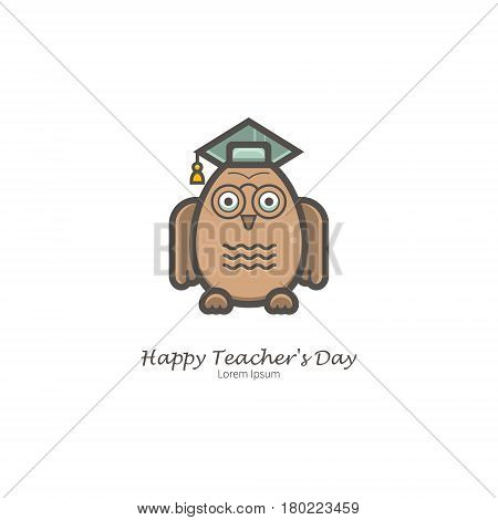 Simple illustration of Owl Scientists. Isolated background. The perfect logo for Your business. The educational series