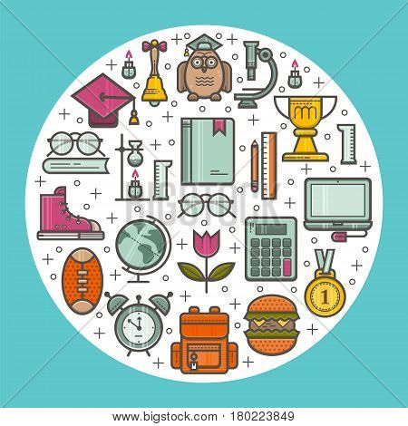 Unique illustration of Happy Teacher s day. The concept of education. Vector in a linear style.