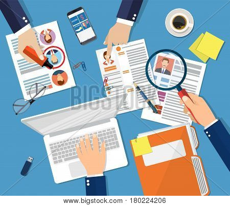Human resources management concept, searching professional staff, work, hq, hard choice between three people, resume on desk, pen, coffee cup. Vector illustration in flat style