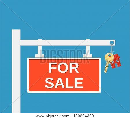 Wooden placard for sale sign. Key on chain. Buy or rent house. Vector illustration in flat style
