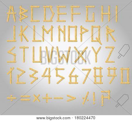 Vector illustration of Ice cream stick uppercase alphabet