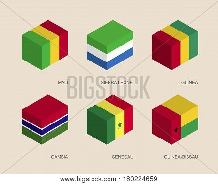 Set of isometric 3d boxes with flags of African countries. Simple containers with standards - Mali, Sierra Leone, Guinea, Gambia, Senegal, Guinea-Bissau. Geometric icons for infographics.