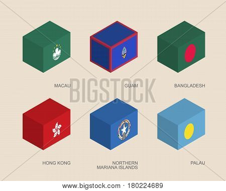 Set of isometric 3d boxes with flags of Asian countries. Simple containers with standards - Hong Kong, Bangladesh, Macau, Guam, Palau, Northern Mariana Islands. Geometric icons for infographics.