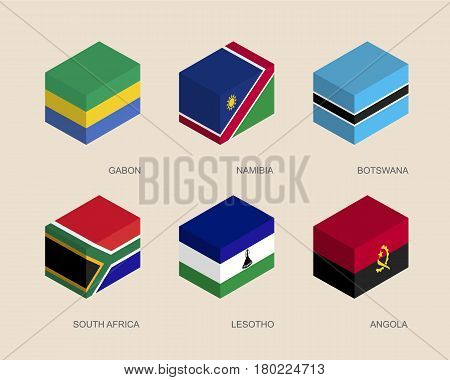 Set of isometric 3d boxes with flags of African countries. Simple containers with standards - Gabon, Namibia, Botswana, South Africa, Lesotho, Angola. Geometric icons for infographics.