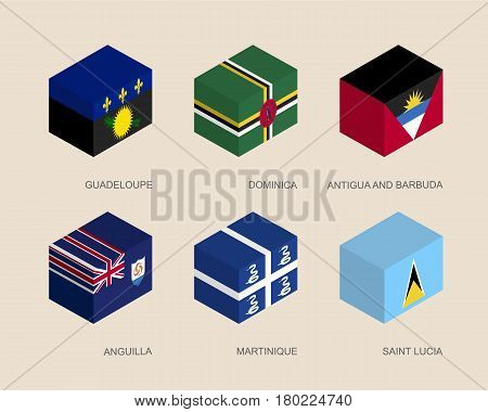 Set of isometric 3d boxes with flags of Caribbean countries. Simple containers with standards - Guadeloupe, Dominica, Antigua, Martinique, Saint Lucia, Anguilla. Geometric icons for infographics.