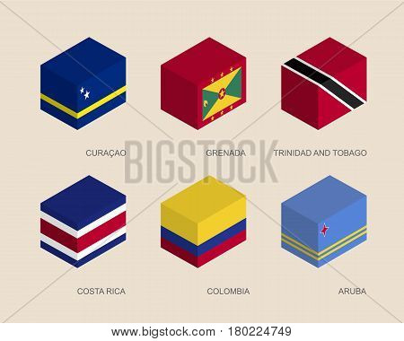 Set of isometric 3d boxes with flags of Caribbean countries. Simple containers with standards - Curacao, Grenada, Trinidad and Tobago, Costa Rica, Colombia, Aruba. Geometric icons for infographics.