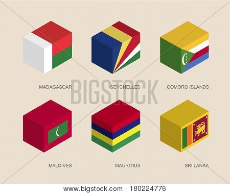 Set of isometric 3d boxes with flags of countries in Indian ocean. Simple containers with standards - Madagascar, Seychelles, Comoro Islands, Maldives, Mauritius, Sri Lanka. Icons for infographics.