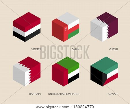 Set of isometric 3d boxes with flags of Middle East countries. Simple containers with standards - Yemen, Oman, Qatar, United Arab Emirates (UAE), Kuwait, Bahrain. Geometric icons for infographics.