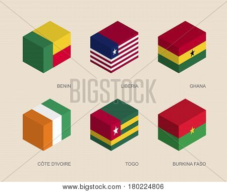Set of isometric 3d boxes with flags of African countries. Simple containers with standards - Benin, Liberia, Ghana, Cote d'Ivoire (Ivory Coast), Togo, Burkina Faso. Geometric icons for infographics.