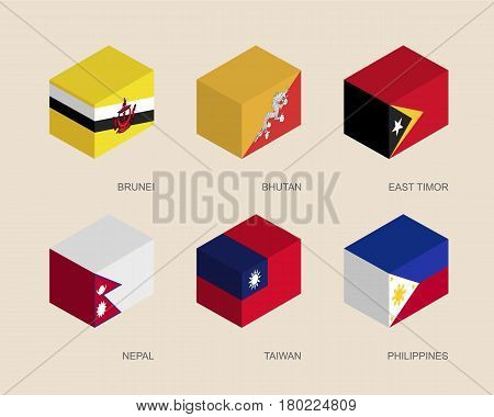 Set of isometric 3d boxes with flags of Middle East countries. Simple containers with standards - Butan, Brunei, East Timor, Nepal, Taiwan, Philippines. Geometric icons for infographics.