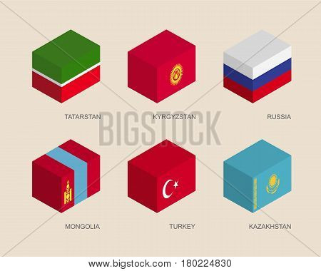 Set of isometric 3d boxes with flags of Asian countries. Simple containers with standards - Russia, Kazakhstan, Kyrgyzstan, Turkey, Tatarstan, Mongolia. Geometric icons for infographics.