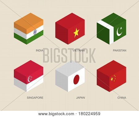 Set of isometric 3d boxes with flags of Asian countries. Simple containers with standards - India, Vietnam, China, Singapore, Pakistan, Japan. Geometric icons for infographics.