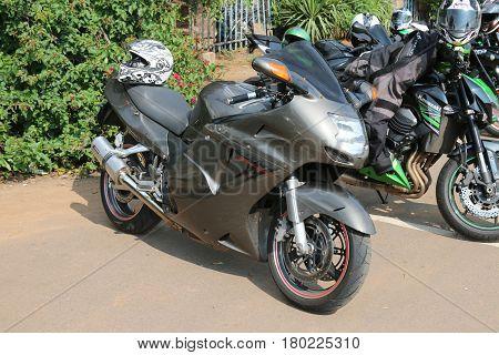 Parked Large Honda Superblackbird 1100Cc Motorbike