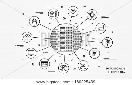 Data storage technology vector illustration. Remote server equipment line art creative concept. Data storage cloud hardware graphic design. Network database infrastructure system.