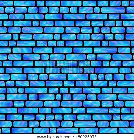Seamless Pattern of Blue Holographic Rectangles. Creative Geometric Background Continued Design.