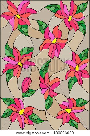 Illustration in the style of stained glass with intertwined pink lilies and leaves on a brown background