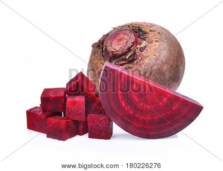 beetroot with cubes isolated on white background