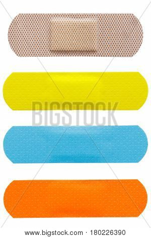 set of adhesive plasters isolated on a white background