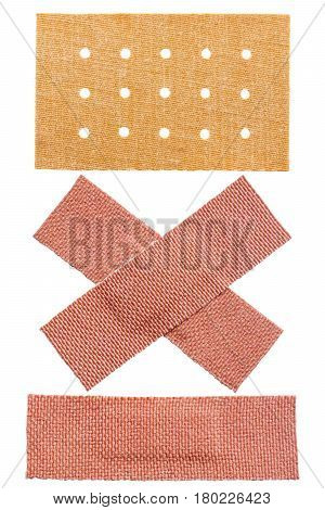 set of fabric adhesive plasters isolated on a white background