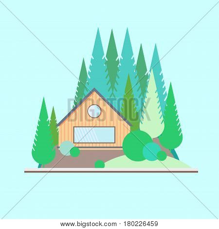 Wooden house in the woods on the edge of the forest. Landscape in flat style. Taiga. Coniferous trees.
