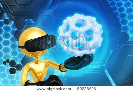 The Original 3D Character Illustration Wearing Virtual Reality Gear Looking At A Molecule