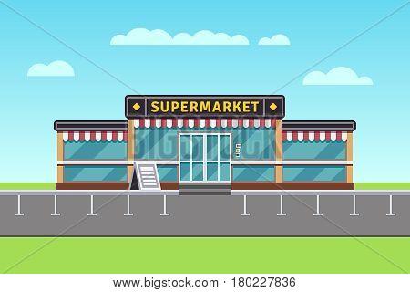 Supermarket building, shopping market, mall vector illustration. Big market building, illustration of commercial store market