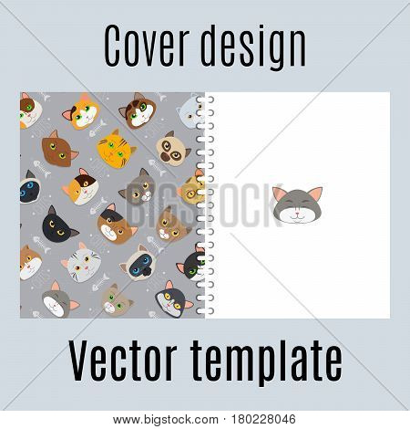 Cover design for print with fur cats pattern. ector illustration