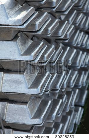 a stack of aluminum casting in stock for background use