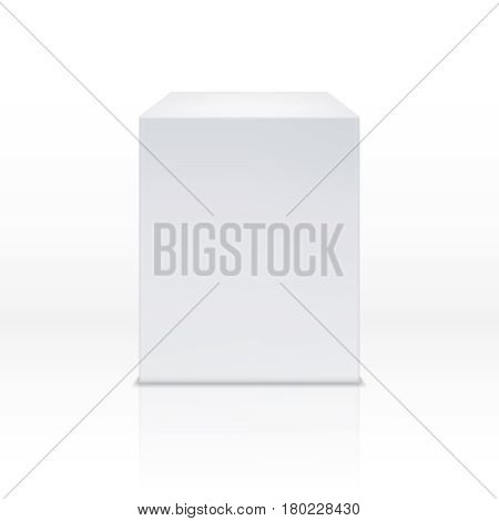 Realistic white box, cube, 3d podium, blank pedestal vector illustration. White podium or platform, illustration of geometric pedestal podium