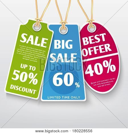 Price tags, stickers, sale labels with discount offers vector templates. Label sale and price tag, illustration of discount tag for retail promotion