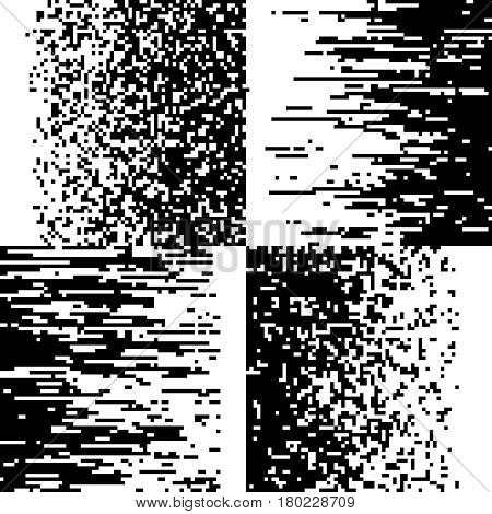 Black and white pixelation, pixel gradient mosaic, pixelated vector backgrounds. Pattern pixel effect noise, illustration of distortion noise tv