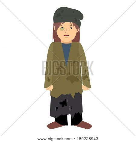 Homeless woman with black eye on white background. Vector illustration