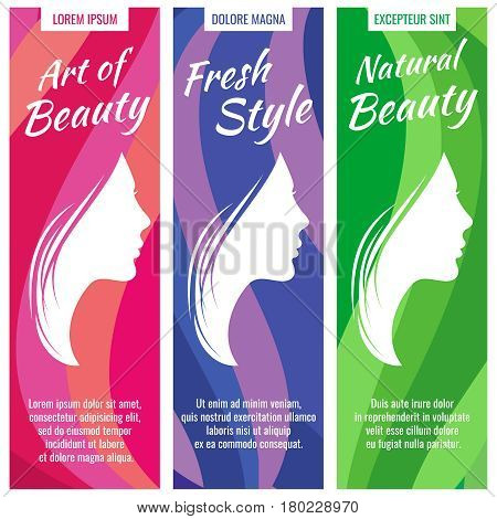 Abstract vector banners for beauty and cosmetic salon set with beautiful profile female portrait, young girl face. Fashion portrait woman silhouette, illustration of salon banner with woman face