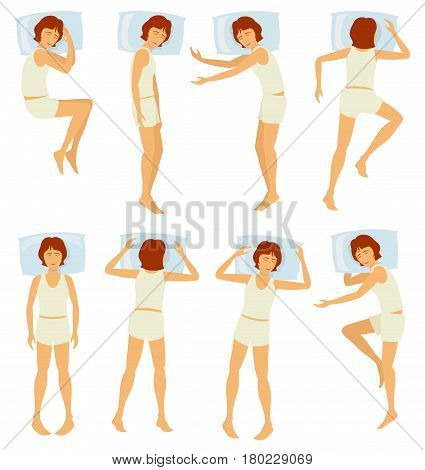 Woman sleeping postures, relaxing female sleep in different poses in bedroom - vector set. Various posture sleep in bedroom, illustration of woman sleep in bed