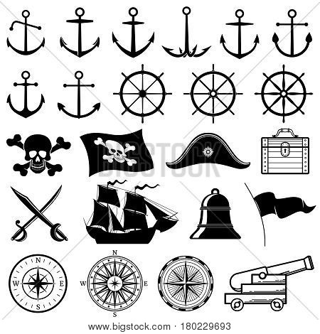 Vintage nautical or marine, pirate vector icons. Marine compass and nautical elements silhouettes