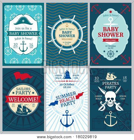 Nautical baby shower, birthday, beach party vector invitation cards. Template of nautical banner for birthday party, illustration of birthday poster