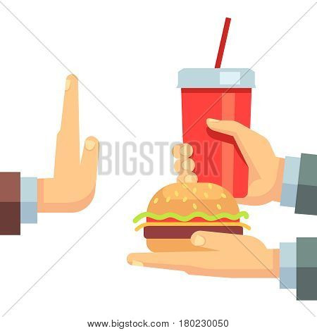 Stop fast food junk snacks vector concept with refusing hand. Fast food and soda beverage, illustration of fast food breakfast