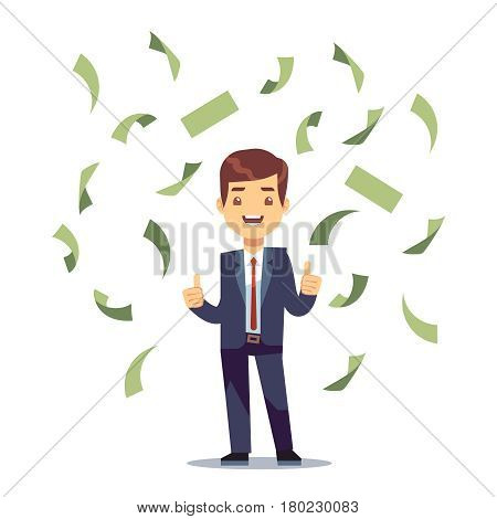 Happy successful businessman in money rain. Finance and banking vector concept. Money rain jackpot, illustration of success businessman character and falling money