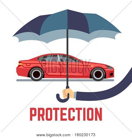 Car insurance vector concept with hand holding umbrella. Insurance transport and protection umbrella in hand, illustration of insurance car