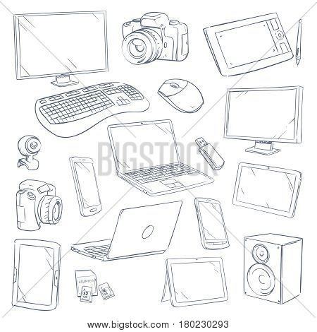 Hand drawn, sketch computer technology gadgets vector set. Computer electronic device, illustration of computer monitor and tablet touchscreen