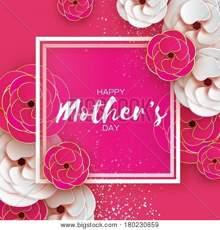 Happy Mothers Day. Gold Pink Floral Greeting card. Women's Day. Paper cut flower. Floral holiday. Origami Beautiful bouquet. Square frame. Space for text. Pink background, confetti. Vector