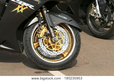 Honda Cbrxx Front Tyre With Silver And Gold Colors
