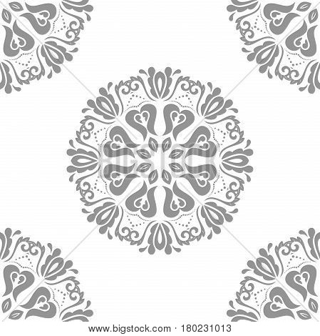 Classic seamless vector round silver pattern. Traditional orient ornament. Classic vintage background