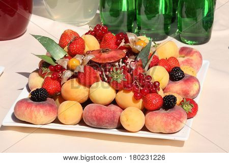 set of summer berries and fruits (catering)