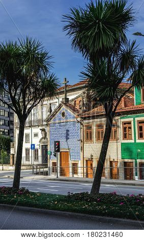Row of buildings with Chapel of Senhor da Boa Nova Chapel in Porto Portugal