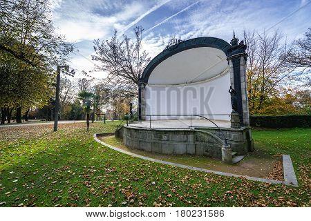 Small theatre in Crystal Palace Gardens public park in Porto Portugal