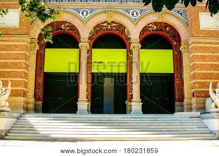 Madrid,Spain-July 23,2010: Front of a buidling in madrid announcing art exhibition