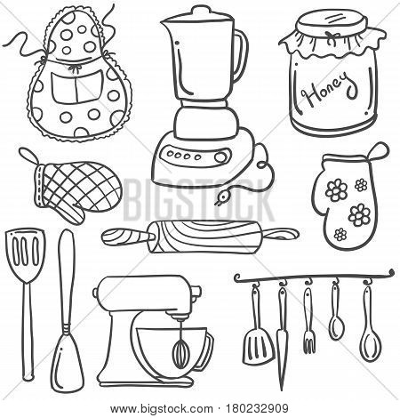 Collection stock of kitchen set doodles vector art